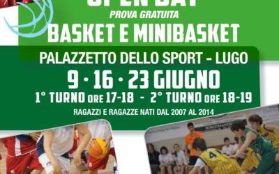 OPEN DAY 9 – 16 – 23 giugno per basket e minibasket